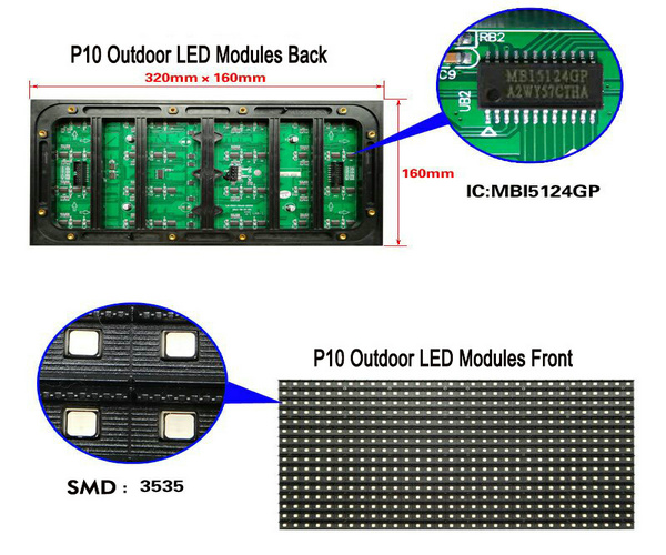 PH10mm Outdoor LED Screen Module 2S/320X160mm